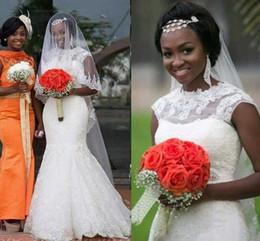 Wholesale Cheap African Beads - African Vintage Lace Wedding Dresses Cap Sleeves Sheer Neck Beads Mermaid Wedding Dress Jewel Saudi Arabic Cheap Bridal Gowns