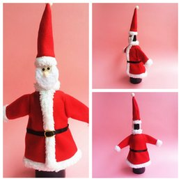 Wholesale Christmas Decorations Wholesale Online Sale - Hot Sale Red Santa Wine Bottle Covers Bag Merry Christmas Table Decoration Red Wine Bottle Cover Bags Gift Wrap Party Decor Red Online