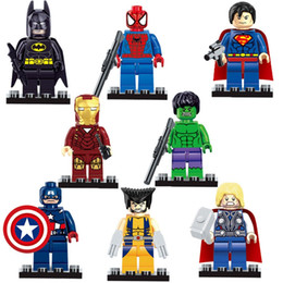 Wholesale Diy Building Block Set - Free Shipping Super Heroes The Avengers Iron Man Hulk Batman Wolverine Thor Building Blocks 8pcs Sets DIY Bricks Toys 161024