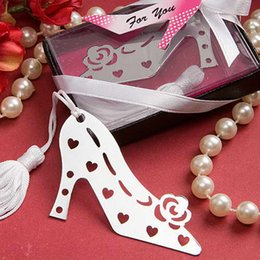 Wholesale High Heeled Shoe Party Favor - 20pcs Silver Stainless Steel High-heel Shoes Bookmark For Wedding Baby Shower Party Birthday Favor Gift CS005