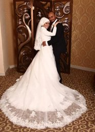 Wholesale Lace Islamic Wedding Dresses - 2015 Vintage Beaded Lace Muslim Wedding Dresses for Women with Long Sleeves White Tulle A Line Islamic Bridal Gowns with Covered Buttons