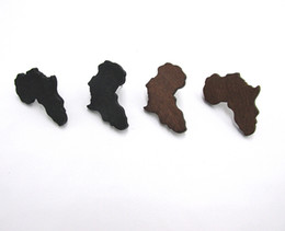 Wholesale Wholesale Wood Studs - Free Shipping!! 3cm Size Wood Africa Map Earring Stud brown and black color can be mixed