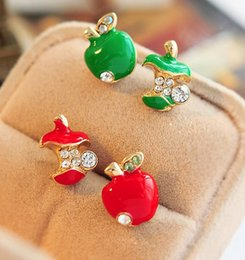Wholesale Red Apple Earrings - Stud Earrings Wholesale for Women European and American Jewelry Retro Glaze Red Apple Asymmetric Earrings