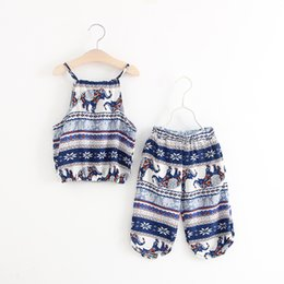 Wholesale childrens clothes free shipping - free shipping cute Elephant cotton two-piece childrens harness + harem pants two-pieces suit baby clothes size 90-130