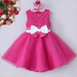 Wholesale Wedding Seller Dresses - 2015 Children Formal Dresses Girls Fashion Polyester Wedding And Bridesmaid Dresses With Bow And Flower Kids Clothes Hot Seller