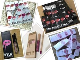 Wholesale Wholesale Lipstick Kits - kylie cosmetics Christmas Lipgloss lip liner Lip Kit kylie jenner 20th Birthday Vacation Fall Collection Liquid Matte Lipsticks Lip Gloss