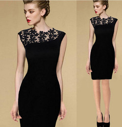 Wholesale Women Crochet Party Dress - 2016 New Women Black Floral Crochet Lace Cocktail Party Tunic Bodycon Sheath Dress T21644 Formal Work Wear Knee-Length Evening Pencil Dress