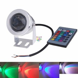 Wholesale Led Pool Lights - 10W Waterproof RGB Led Floodlight DC12V Underwater Swimming Pool Lights Led aquarium lamp Underwater Spotlights + 24Keys IR Remote Control