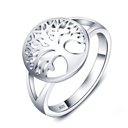 Wholesale Tree Life Family Gifts - Size 5-9 Fashion Tree of Life Classic Rings 925 Sterling Silver Jewelry Family Rings For Women