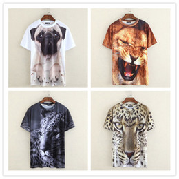 Wholesale Leopard Crewneck - Men women summer tops 2015 new arrival 3d animal print t shirt sad french bulldog mighty lion leopard tiger casual crewneck tees