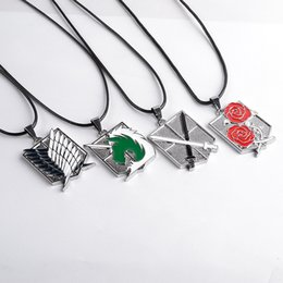 Wholesale Liberty Charm - 4 models Anime Cartoon Attack on Titan necklace Scouting Legion Gendarmerie Regimen Badge Necklaces Wings of Liberty pendants 161114
