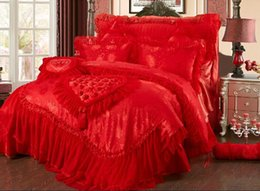 Wholesale Princess Wedding Duvet - Wholesale-Lace Princess 4PCS wedding cotton bedding sets(1 duvet cover +1quilted bed cover+2 pillow sham)pink red king queen size