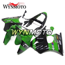 Wholesale Ninja Kawasaki Body Plastics - Green Black Complete Fairings for Kawasaki ZX-6R ZX6R 1998 1999 98 99 Plastics Motorcycle Fairing Kit ABS Body Kit Panels