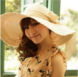 Wholesale Hat Woman Large - 2pcs Women Wide Large Floppy Brim Bow Summer Beach Sun Straw Beach Derby Hat Cap Packable Flexible Fashion New