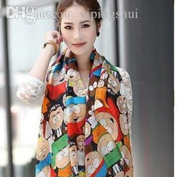 Wholesale Novel Cartoon Scarfs - Wholesale-2015 Fashion Women Novel Cartoon Figure Fashion South Park Print Chiffon Silk Scarfs Woman Cape Shawl S17