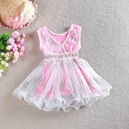 Wholesale White Sequin Dress Baby Girl - Latest design girls dress V-neck baby girl Sequins dresses children lace sundress kids tutu skirts princess girls tunic dress with pearl