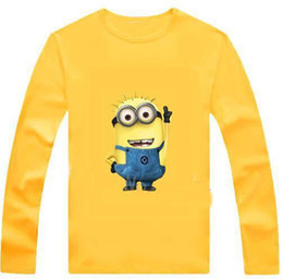Wholesale Minions Costumes - New 2016 cartoon anime figure despicable me minion clothes minion costume kid clothes, long sleeve t shirts,girls boys' t-shirts