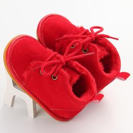 Wholesale Warm Villus - Winter Baby Shoes Newborn Boy Girl Lace-up Shoes Pre-walker Infant Autumn Baby Warm Villus Shoes Baby Boy 0-18M