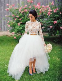 Wholesale Top Princess Bride Dress - Vintage Two Piece Lace Wedding Dresses Long Sleeves 2016 Jewel Lace Top Hi Lo Bride Bridal Gowns Garden Summer vestido de noiva Cheap