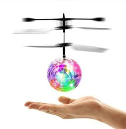 Wholesale remote control ball toy - RC Toy RC Flying Ball Infrared Induction Helicopter Ball with Rainbow Shinning LED Lights and Remote Control Flying Toys for Kids