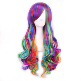 Wholesale Long Rainbow Wigs - WoodFestival long wavy synthetic hair wigs women japanese harajuku green pink white red purple rainbow color fibre anime cosplay wig ombre