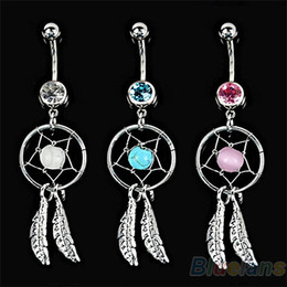 Wholesale Gem Dream Navel Catcher - Body Jewelry Crystal Gem Dream Catcher Navel Dangle Belly Barbell Button Bar Ring Body piercing Art 06PB