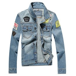 Wholesale Denim Fashion Shorts High - Mens Denim Jacket high quality fashion Jeans Jackets Slim fit casual streetwear Vintage tide Embroidery epaulet jean outwear Plus Size M-5XL