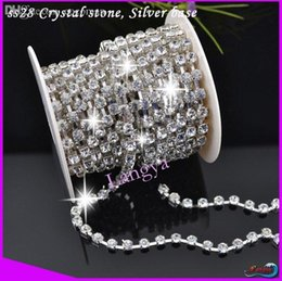 Wholesale Ss28 Rhinestone Chain - Wholesale-Shiny Crystal Glass Silver Base Sparse Claw SS28 Crystal Rhinestone Cup Chain For Jewelry Accessories