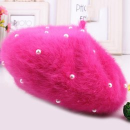Wholesale Artist Rabbit - Wholesale-The new ms qiu dong han edition rabbit hair pearl beret warm artist lady fashion celebrities buds hat