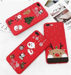 Wholesale Veins Case - Christmas mobile phone shell,Cute cartoon mobile phone shell, Christmas tree,elk,snowman pattern,Red skin veins soft shell,colour decoration
