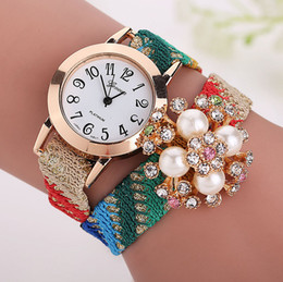 Wholesale Wholesale Leather Bling Belts - Fashion fabric leather Geneva watches with rose gold dial Geneva Bling Crystal flower Women Girl Quartz Wrist Watch XR1268
