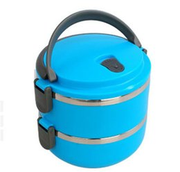 Wholesale Heated Lunch Box - Wholesale-Lunch box 1.4L picnic box 2 Layer stainless Heat preservation lunch box Sealing bowle cooking tool free shipping Q-142 Double