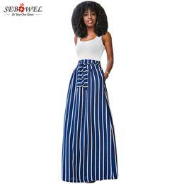 Wholesale Striped Maxi Skirts - Wholesale- SEBOWEL 2017 Autumn Summer Women Long Skirt Chic Colorblock Striped Maxi Skirts Full-length High Waist Tie Big Hem Vintage Skirt