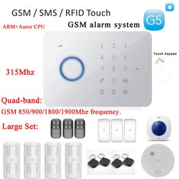 Wholesale Gsm Phone System - Chuango G5 Touch Alarm System 315MHZ GSM   SMS Quad-band RFID G5 1 Set 50 Zones Touch Keypad GSM Phone SMS Wireless Home Securit DHL free