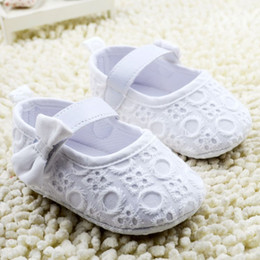 Wholesale Girl Rosette Shoes - White satin rosette flower headband baby lace shoes with crown set Christening baptism newborn shoes