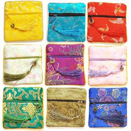 Wholesale Silk Chinese Drawstring Pouch - Jewelry Drawstring Bags, Chinese Silk Embroidery Packaging bags, Mix Color, 11.5*11.5cm, sold by lot (10pcs lot)
