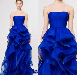 Wholesale Cheap Black Crystal Brooches - Royal Blue Cheap Prom Dresses 2016 Organza Ruffles Sexy Backless Evening Gowns Custom Made Floor Length Formal Party Dresses