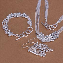 Hermoso diseño de plata de ley 925 de seis líneas collar de cuentas de luz pendientes de la joyería de moda conjunto de regalo de boda envío gratis desde fabricantes