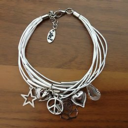 Wholesale Cord Star Bracelets Wholesale - DHL Free Shipping Wholesale Fashion Handmade Wax Cord Multi Layer Rope Chain Elements Star Peace Sign Heart Anchor Charm Bracelet for Women