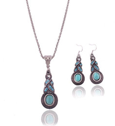 Wholesale Wholesale Gift Items For Sale - Fashion Vintage Pattern Blue Crystal Turquoise Pendant Jewelry Sets Earrings Necklace For Party Women Dresses Accessories For Sale 10 items