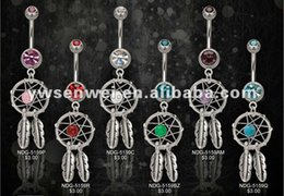 Wholesale Dream Belly - 2014 free shipping dream catcher belly button ring body piercing jewelry 12pcs lot