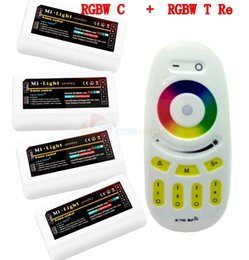 Wholesale Controllers Group - Wholesale-Big Sale Mi Light 4-Zone Group Wireless RF Remote Controller + 4pcs 2.4G DC12-24V 12A LED DIM CCT RGB RGBW Controller Free Ship