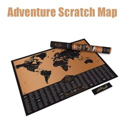 Wholesale Hot Education - 82.5x59.4cm 2016 Hot Creative New Design Black Scratch Off Map Travel Adventure Scratch World Map Best Gift for Education School