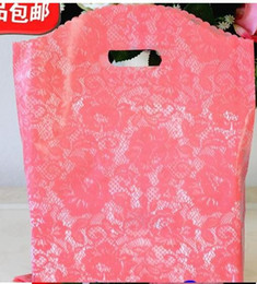 Wholesale Red Plastic Gift Bags - Weeding Lace gift handbags 25*35cm 100pcs lot Wholesale small Plastic Bags Shopping Gift bag