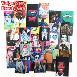 Wholesale Toy Motorcycle Wholesale - 54 Pcs Vulgar Sexy beauty Girls Stickers Laptop Motorcycle Skateboard Doodle DIY Sticker Home decor Toy styling Television Decal