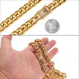 """Wholesale real solid 24k gold - Real 316L Stainless Steel 24K Solid Gold Electroplate Casting Clasp & Diamond Curb CUBAN LINK Necklace Men Chains Jewelry 30"""" 14mm"""