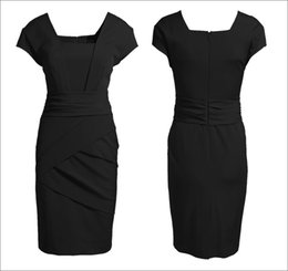 Wholesale Square Short Sleeve Ruffle - Kate Middleton Dress New 2016 Summer Elegant Women Business Formal Dresses Ladies Office Work Wear Midi Vestidos Plus Size S-XXXL