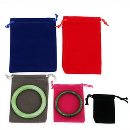 """Wholesale Velvet Jewelry Bag Red - 4.7""""X5.9"""" (12*15 cm) Black Red Blue Purple Fashion Jewelry Pouches Bags Velvet Drawstring Bags for Rings Necklace Packaging Supplies"""