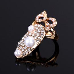 unhas afiadas Desconto 1 pc Dedo Nail Art Design Anel Jóias Coroa De Cristal Falso Unhas de Cristal Dedo Nail Art Anel Unhas Decoração Art Coroa De Cristal