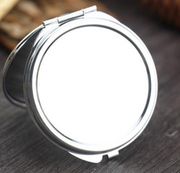 Wholesale Metal Round Blanks Wholesale - New Silver Pocket Thin Compact Mirror Blank Round Metal Makeup Mirror DIY Costmetic Mirror Wedding Gift SL1140